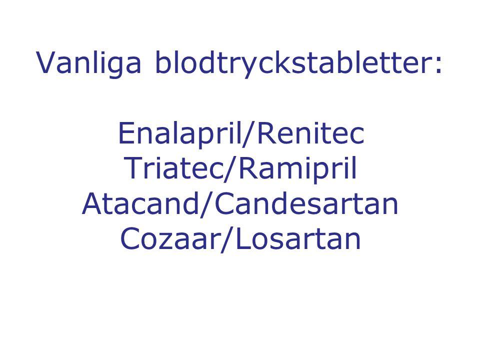 Vanliga blodtryckstabletter: Enalapril/Renitec Triatec/Ramipril Atacand/Candesartan Cozaar/Losartan