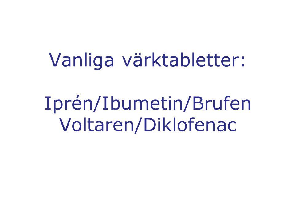 Vanliga värktabletter: Iprén/Ibumetin/Brufen Voltaren/Diklofenac