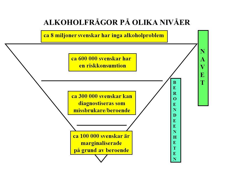 missbrukare/beroende ca 100 000 svenskar är marginaliserade