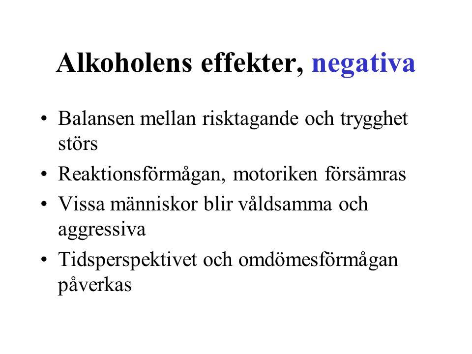 Alkoholens effekter, negativa