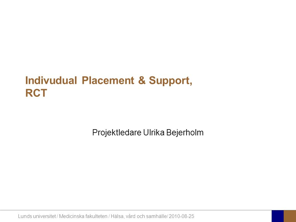 Indivudual Placement & Support, RCT