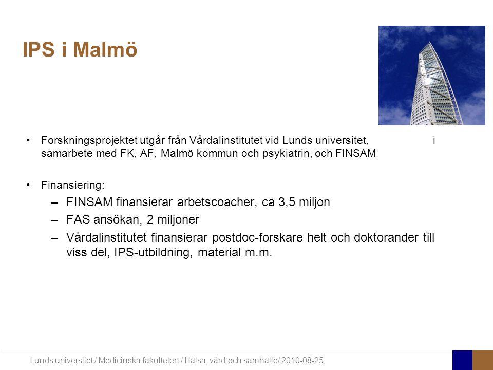 IPS i Malmö FINSAM finansierar arbetscoacher, ca 3,5 miljon