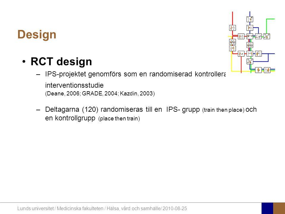 Design RCT design. IPS-projektet genomförs som en randomiserad kontrollerad interventionsstudie (Deane, 2006; GRADE, 2004; Kazdin, 2003)