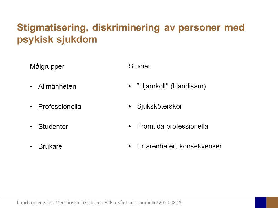 Stigmatisering, diskriminering av personer med psykisk sjukdom