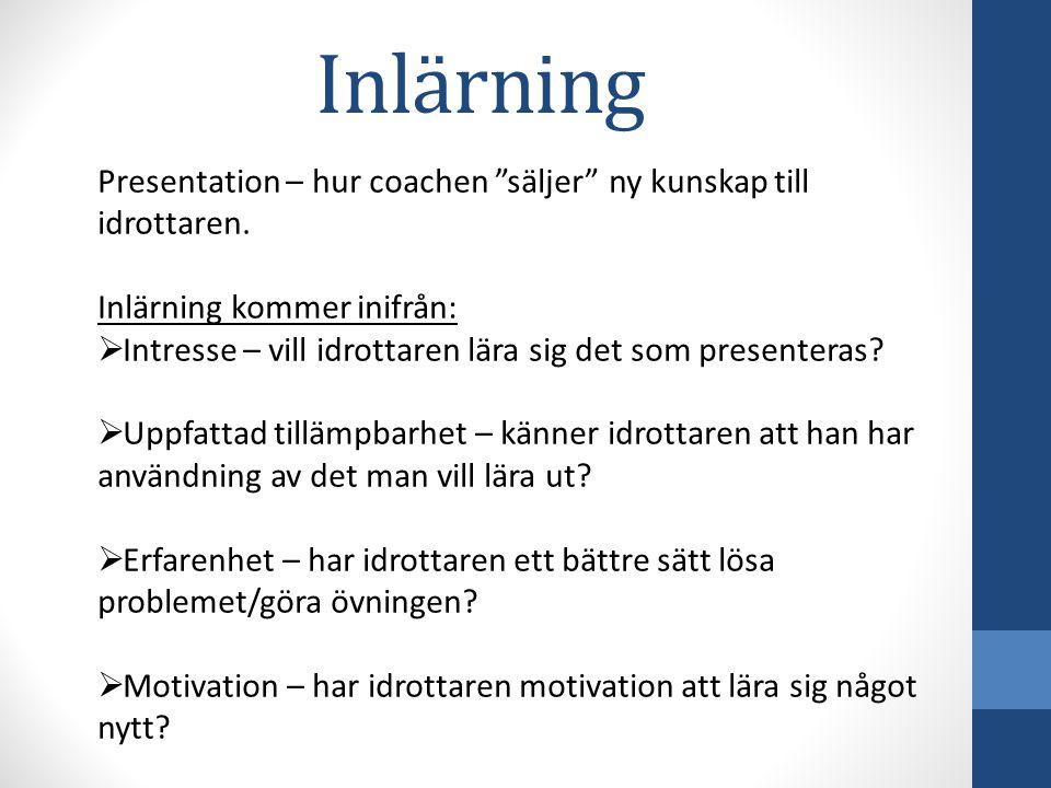 Inlärning Presentation – hur coachen säljer ny kunskap till idrottaren. Inlärning kommer inifrån: