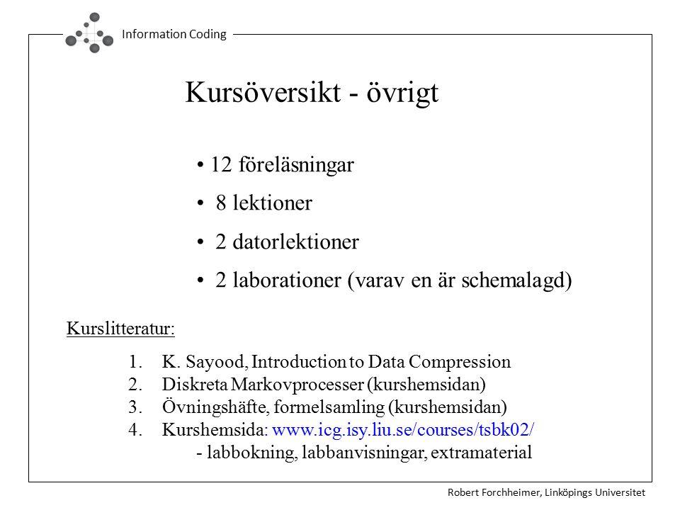 Kursöversikt - övrigt 12 föreläsningar 8 lektioner 2 datorlektioner