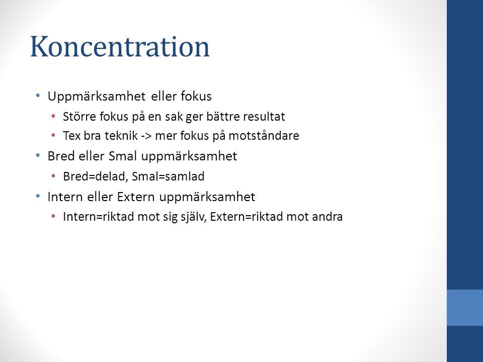 Koncentration Uppmärksamhet eller fokus Bred eller Smal uppmärksamhet