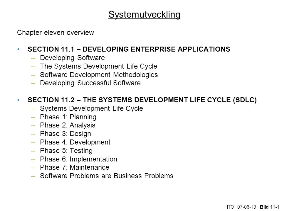 Systemutveckling Chapter eleven overview