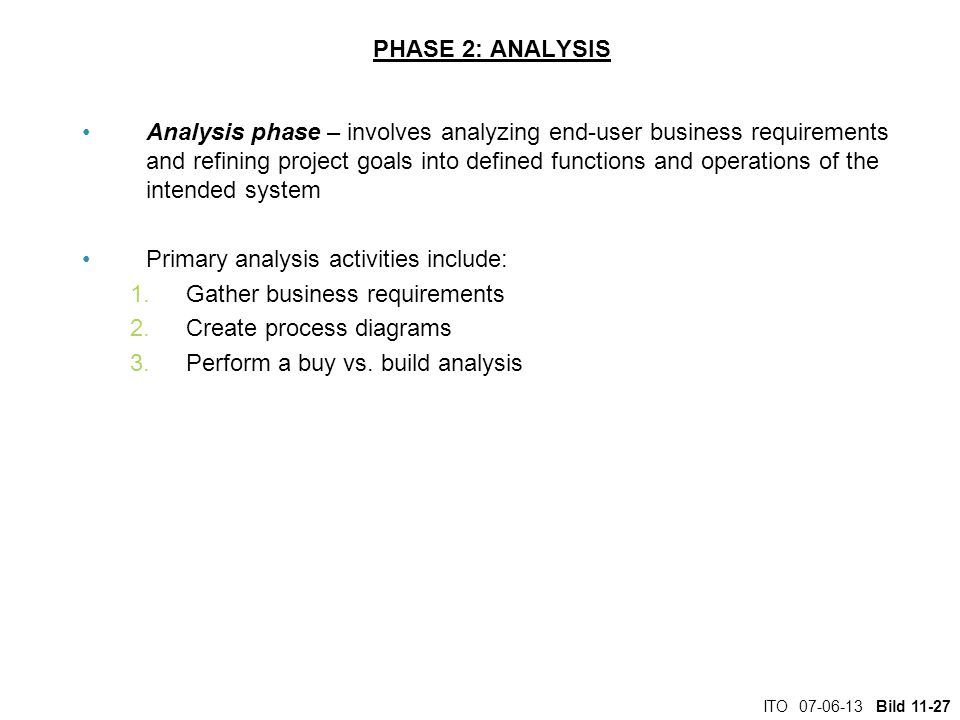 Primary analysis activities include: Gather business requirements