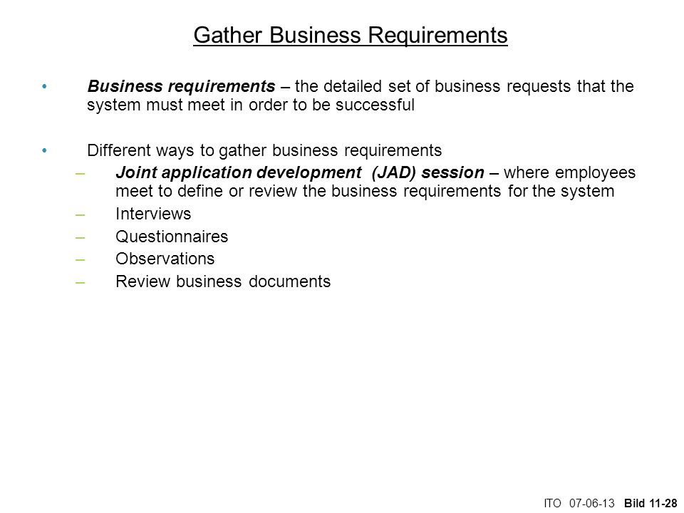 Gather Business Requirements