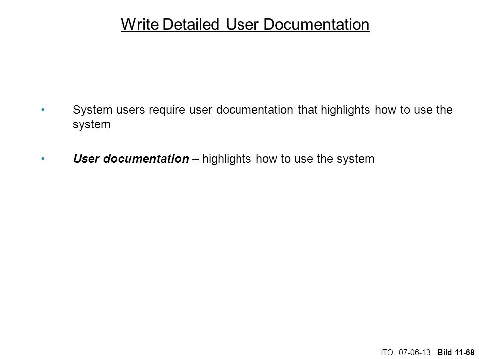 Write Detailed User Documentation