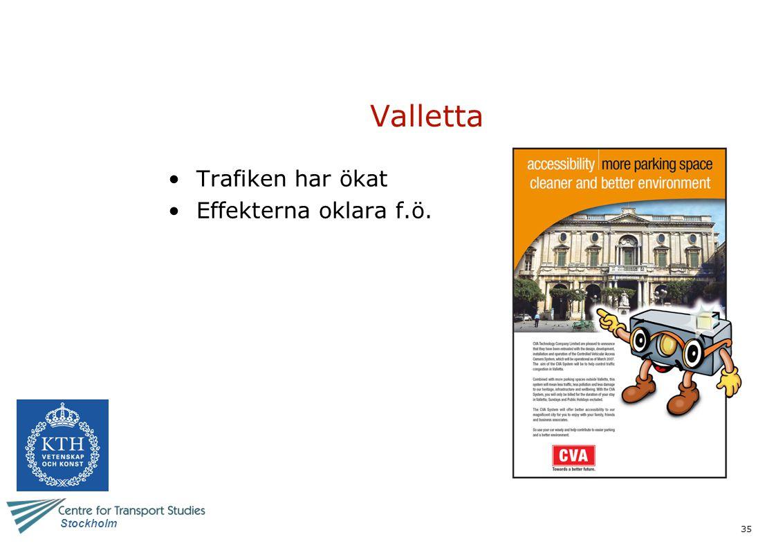 Valletta Trafiken har ökat Effekterna oklara f.ö.