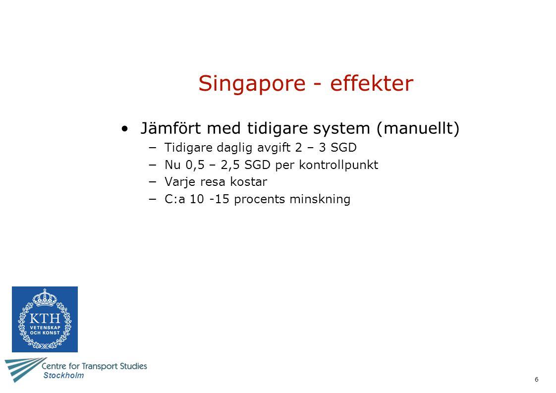 Singapore - effekter Jämfört med tidigare system (manuellt)