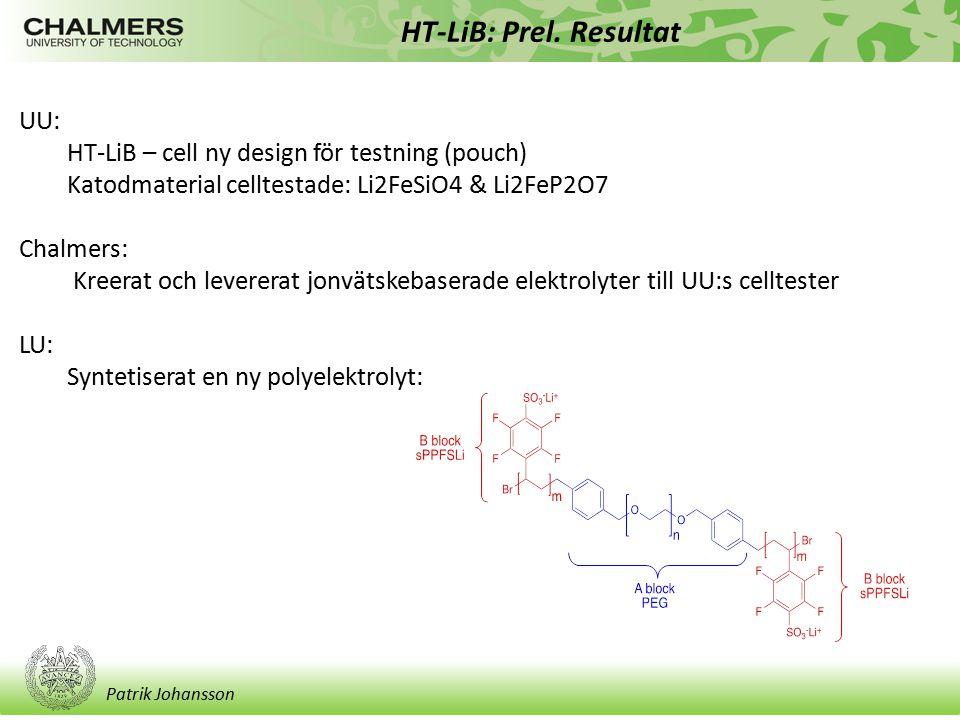 HT-LiB: Prel. Resultat UU: HT-LiB – cell ny design för testning (pouch) Katodmaterial celltestade: Li2FeSiO4 & Li2FeP2O7.