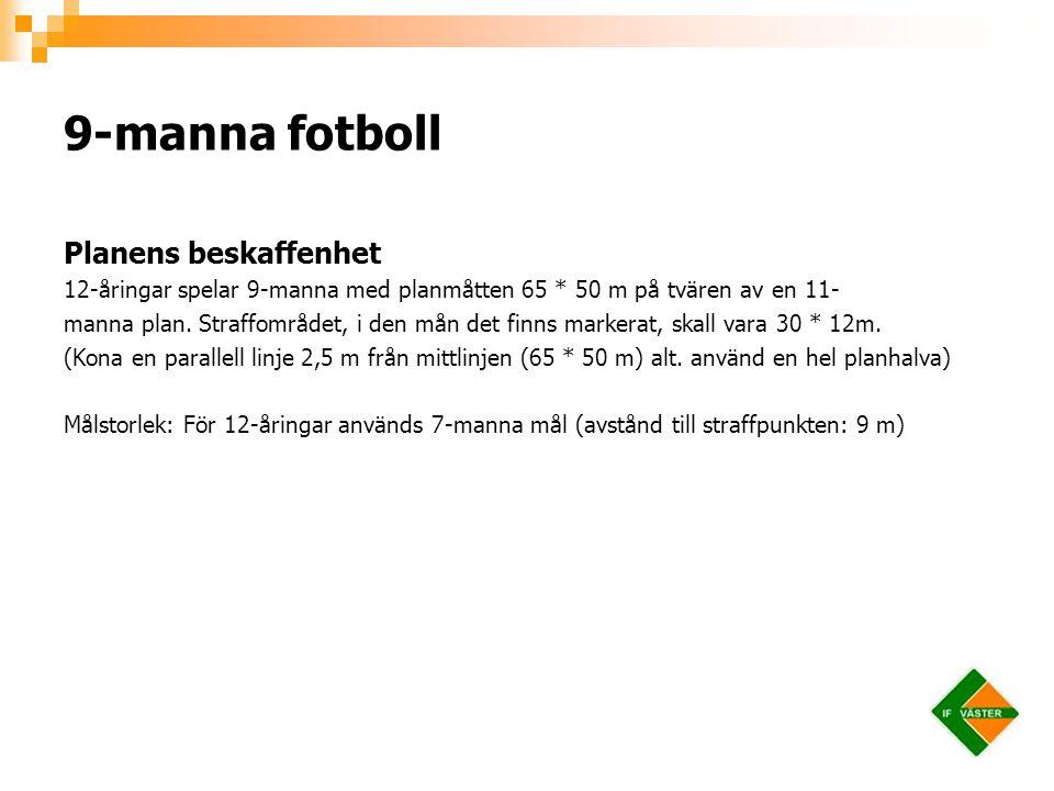 9-manna fotboll Planens beskaffenhet