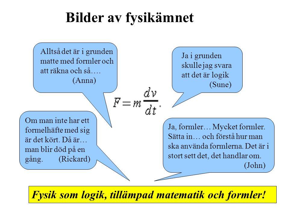 Bilder av fysikämnet Fysik som logik, tillämpad matematik och formler!