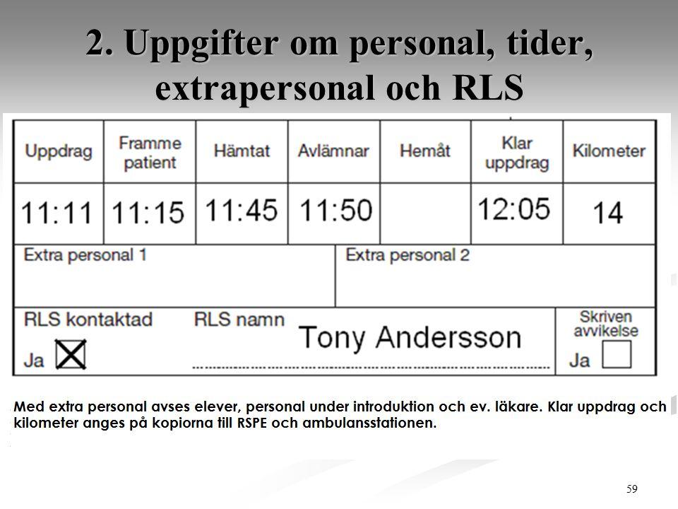 2. Uppgifter om personal, tider, extrapersonal och RLS