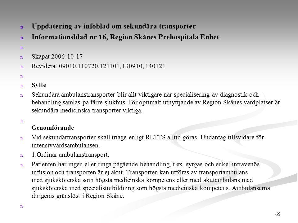 Uppdatering av infoblad om sekundära transporter