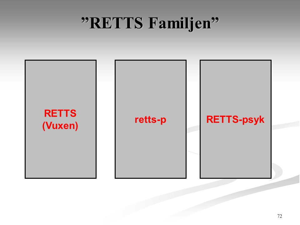 RETTS Familjen RETTS (Vuxen) retts-p RETTS-psyk