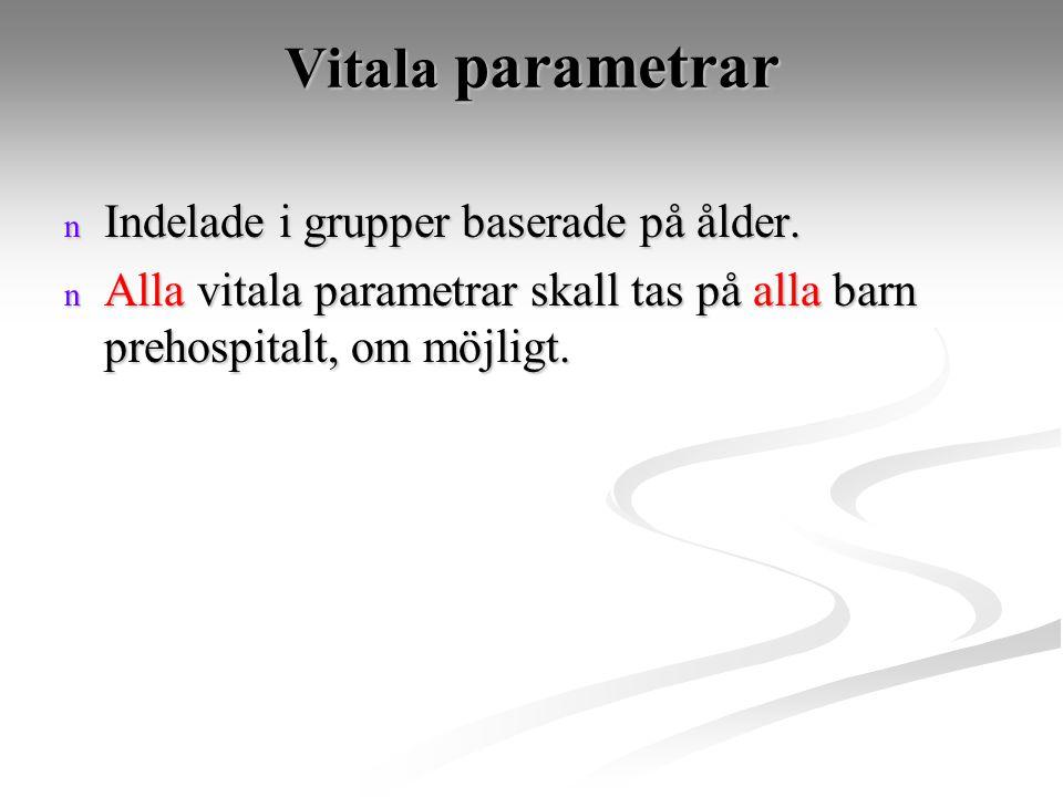 Vitala parametrar Indelade i grupper baserade på ålder.