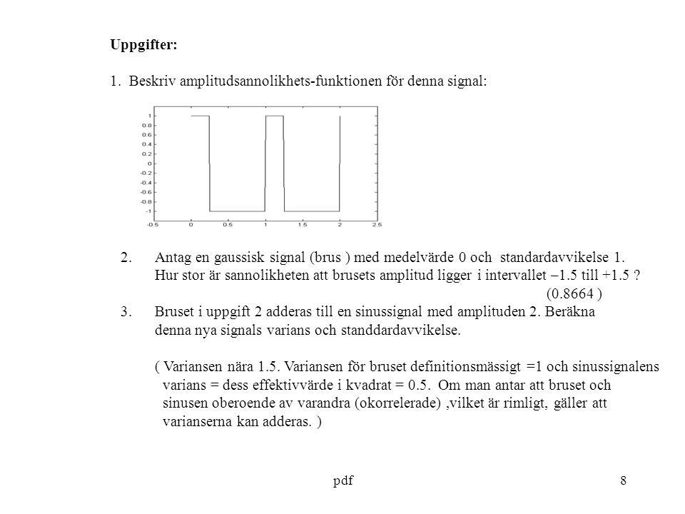 1. Beskriv amplitudsannolikhets-funktionen för denna signal: