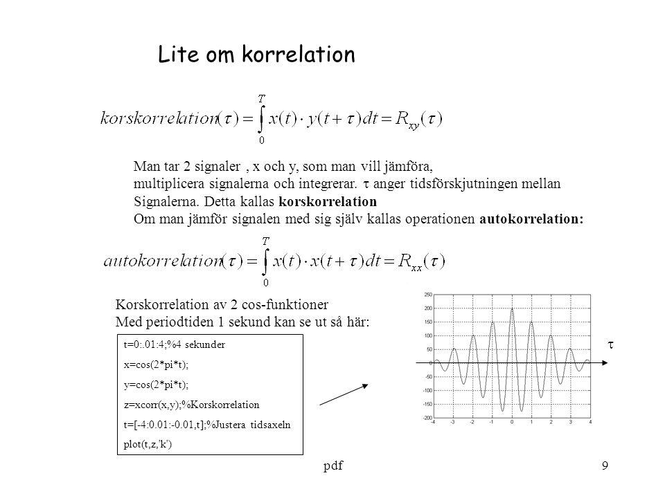 Lite om korrelation Man tar 2 signaler , x och y, som man vill jämföra, multiplicera signalerna och integrerar.  anger tidsförskjutningen mellan.