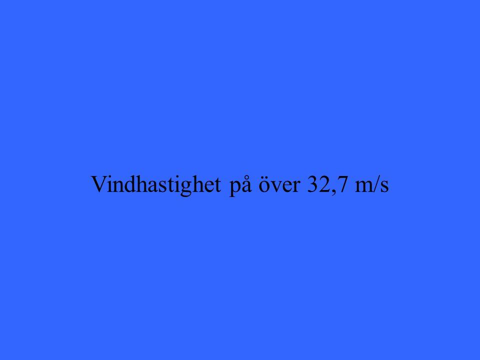 Vindhastighet på över 32,7 m/s