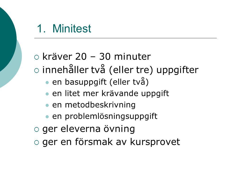 1. Minitest kräver 20 – 30 minuter