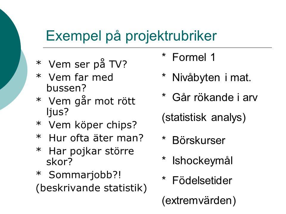 Exempel på projektrubriker