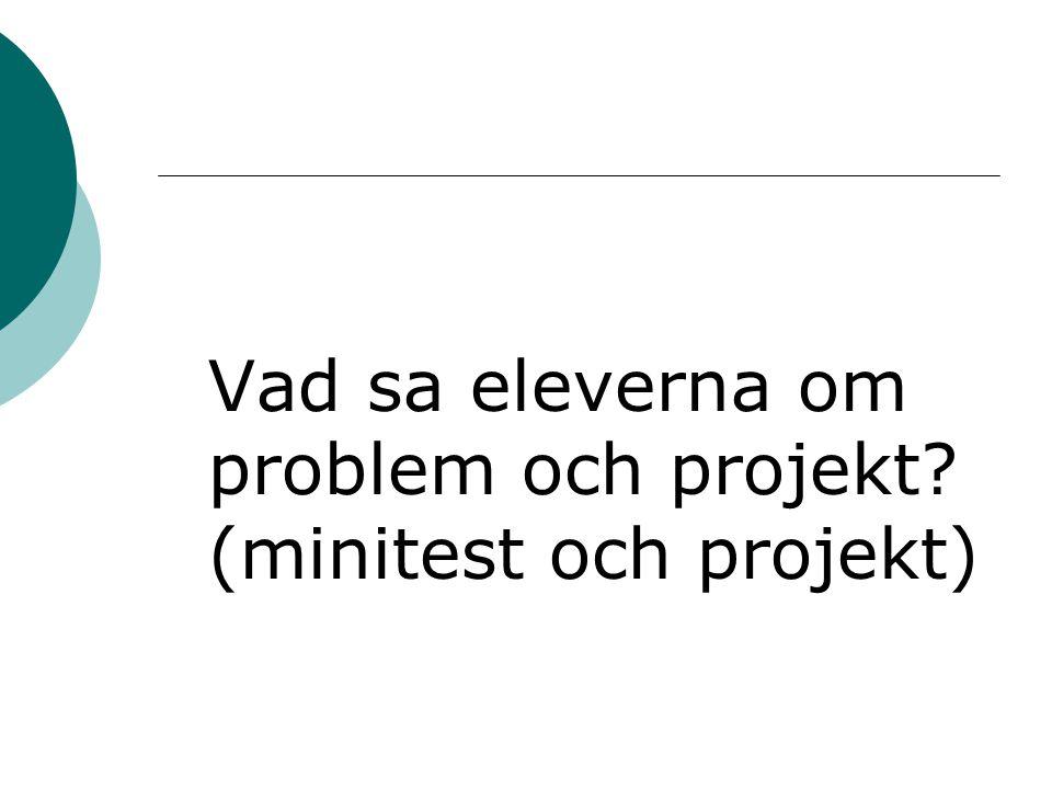 Vad sa eleverna om problem och projekt (minitest och projekt)