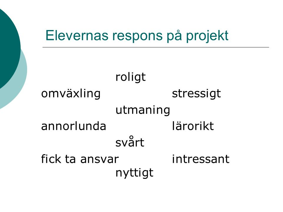Elevernas respons på projekt