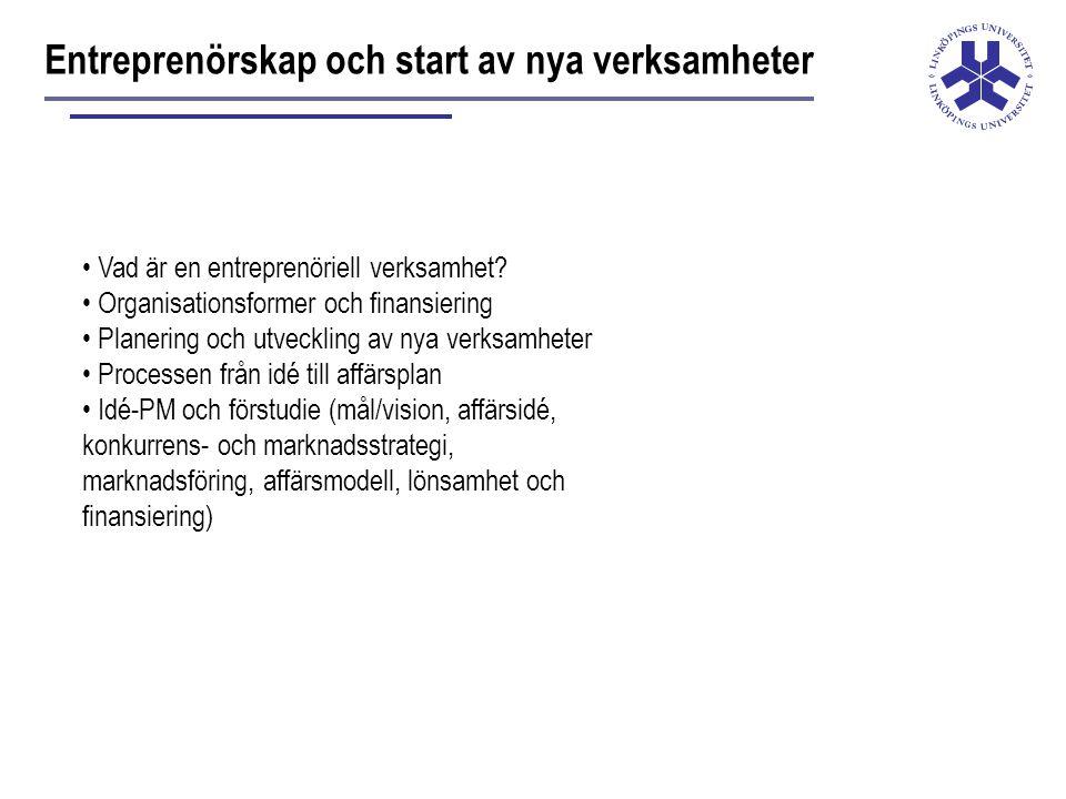 Entreprenörskap och start av nya verksamheter