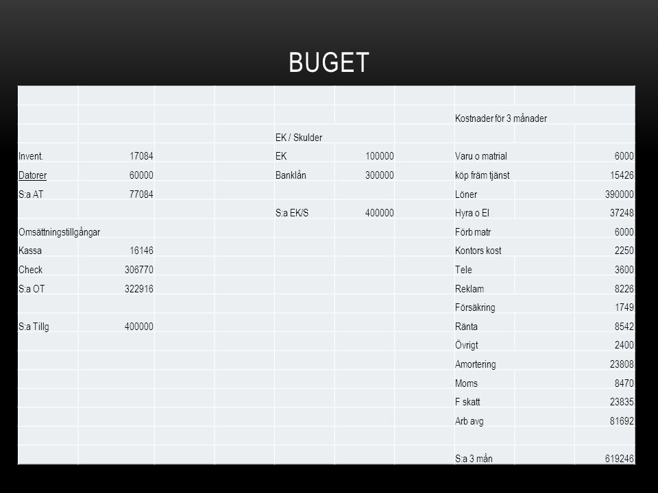 Buget Kostnader för 3 månader EK / Skulder Invent. 17084 EK 100000