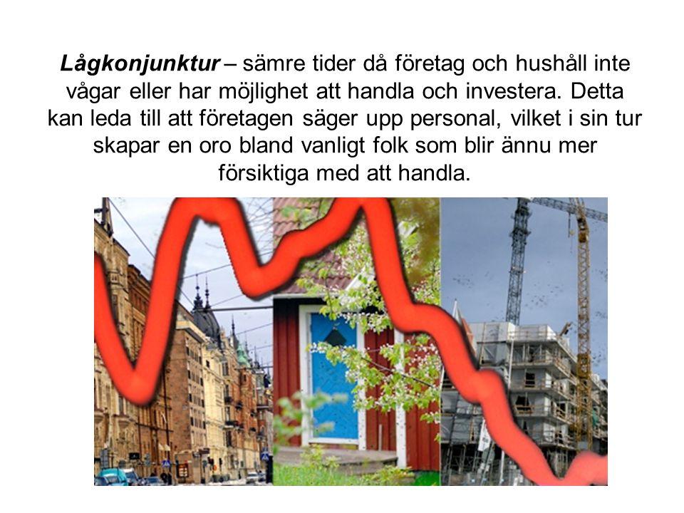 Lågkonjunktur – sämre tider då företag och hushåll inte vågar eller har möjlighet att handla och investera.