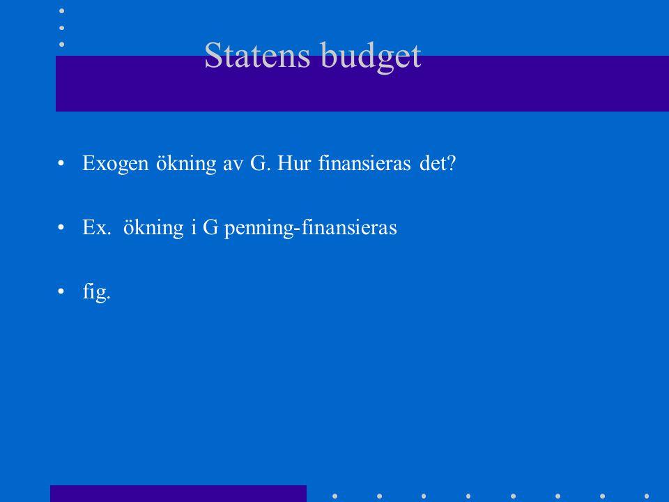 Statens budget Exogen ökning av G. Hur finansieras det