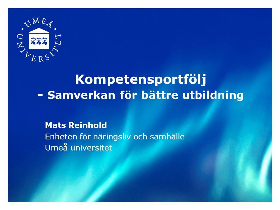 Kompetensportfölj - Samverkan för bättre utbildning