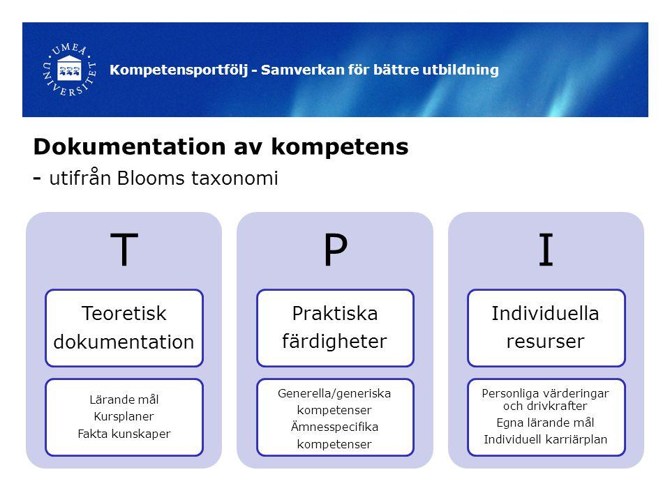 Dokumentation av kompetens - utifrån Blooms taxonomi