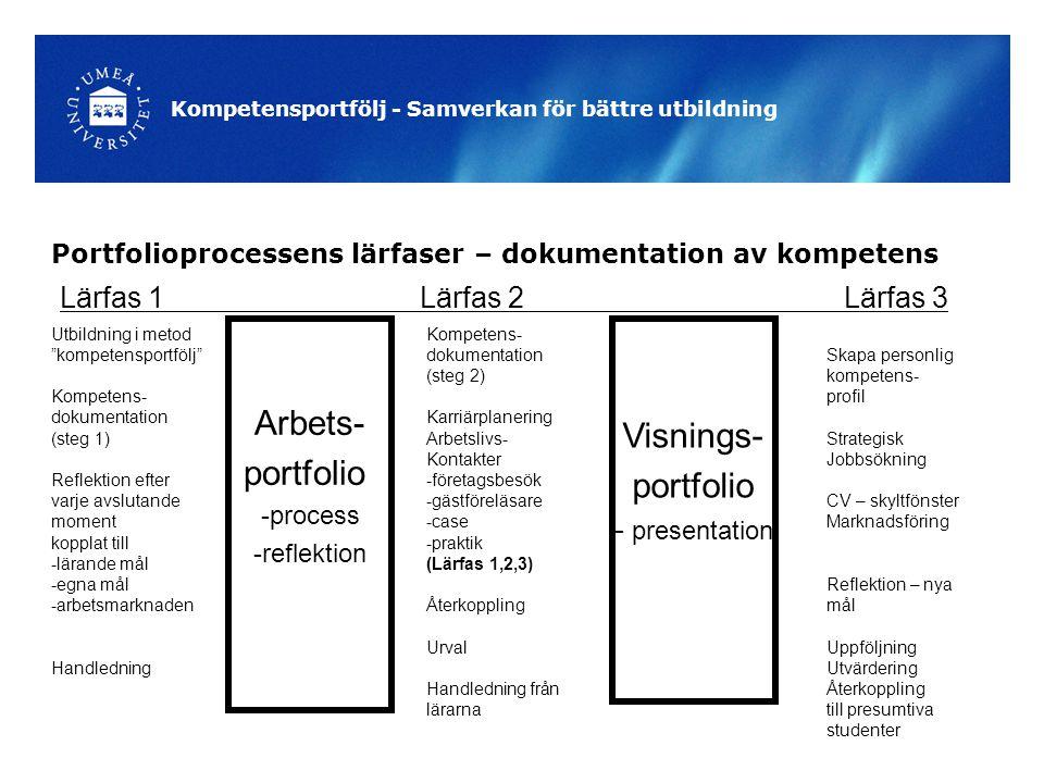 Portfolioprocessens lärfaser – dokumentation av kompetens