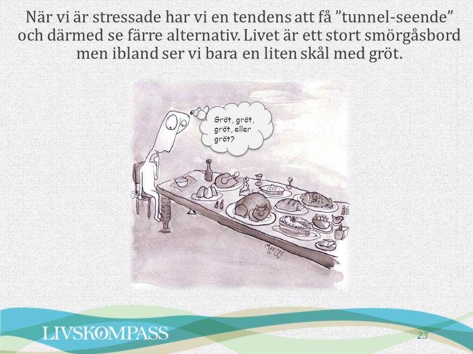 När vi är stressade har vi en tendens att få tunnel-seende och därmed se färre alternativ. Livet är ett stort smörgåsbord men ibland ser vi bara en liten skål med gröt.