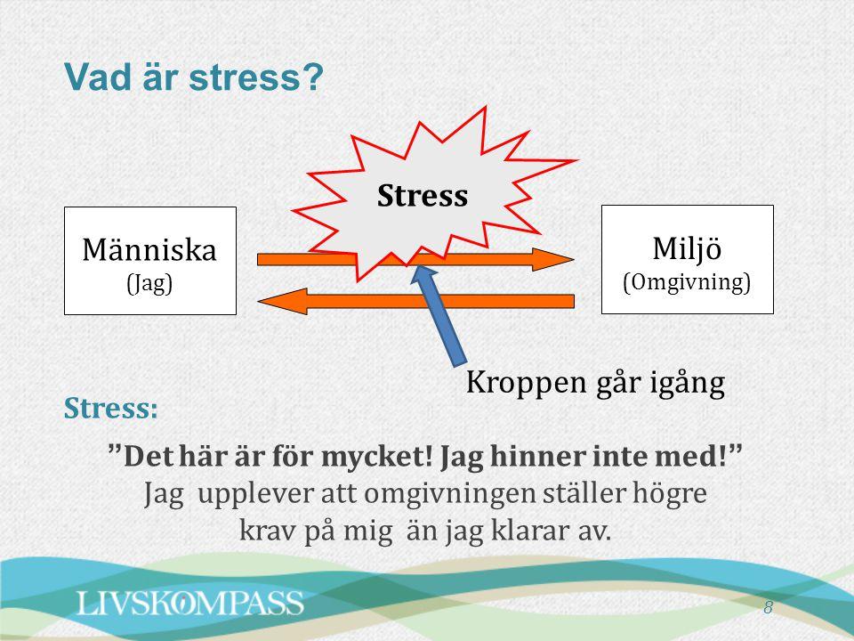 Vad är stress Stress Människa Miljö (Omgivning) Kroppen går igång