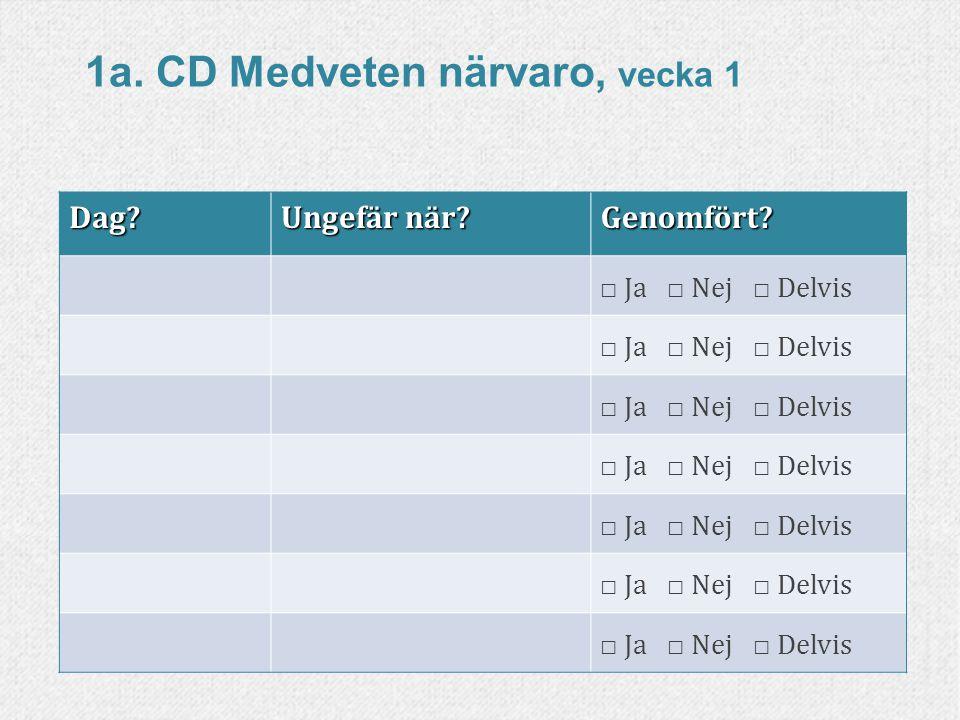 1a. CD Medveten närvaro, vecka 1
