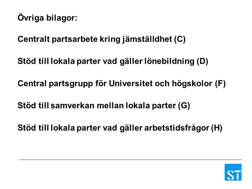 Övriga bilagor: Centralt partsarbete kring jämställdhet (C) Stöd till lokala parter vad gäller lönebildning (D)