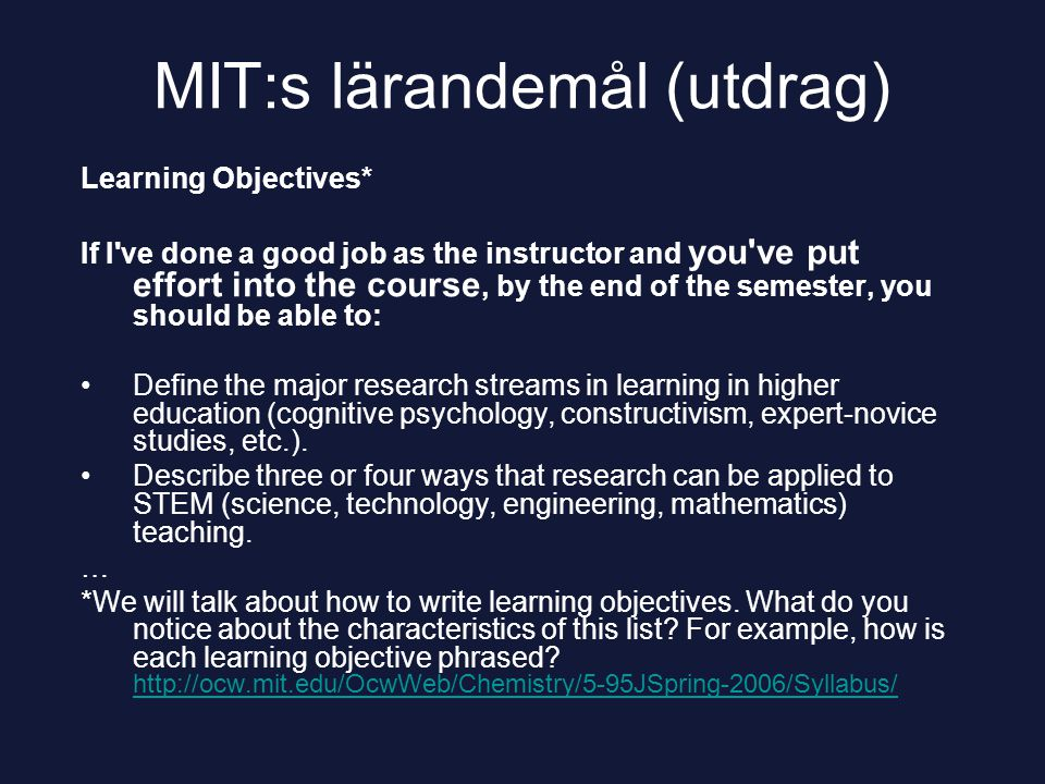 MIT:s lärandemål (utdrag)