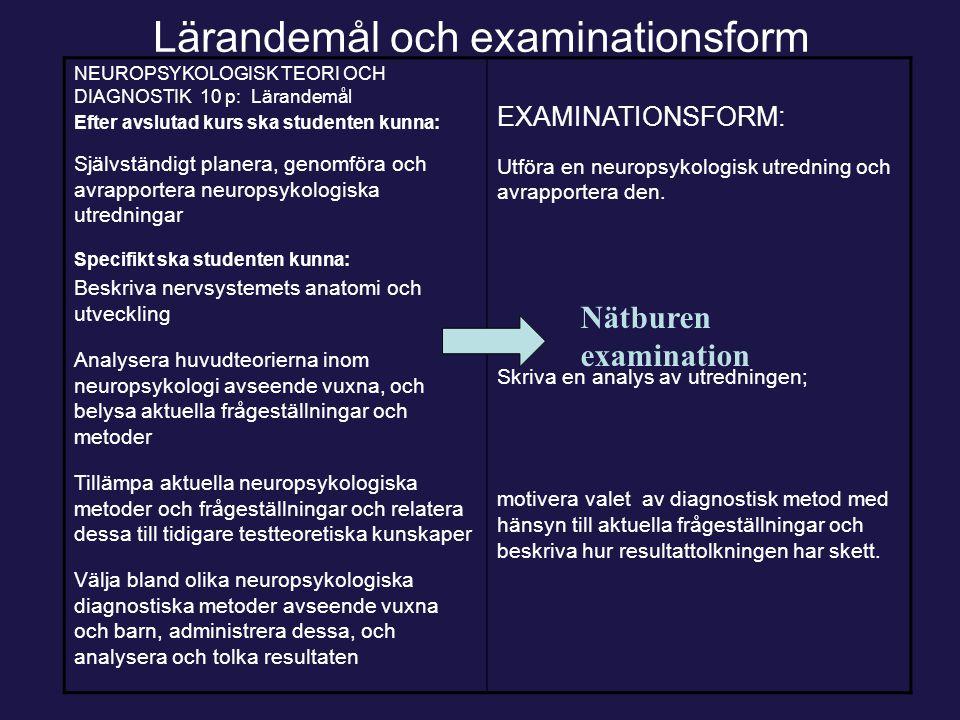 Lärandemål och examinationsform