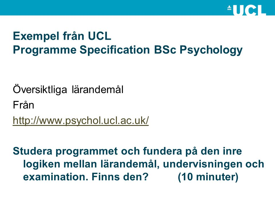 Exempel från UCL Programme Specification BSc Psychology