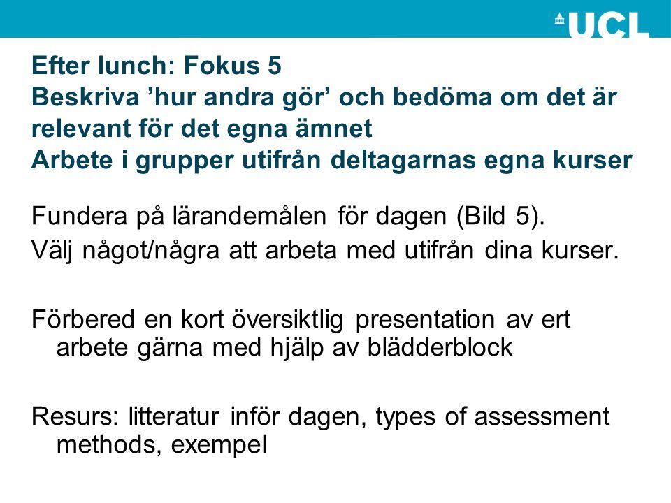 Efter lunch: Fokus 5 Beskriva 'hur andra gör' och bedöma om det är relevant för det egna ämnet Arbete i grupper utifrån deltagarnas egna kurser