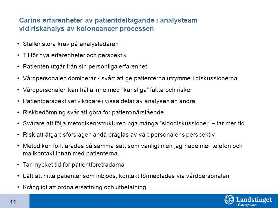 Carins erfarenheter av patientdeltagande i analysteam vid riskanalys av koloncancer processen