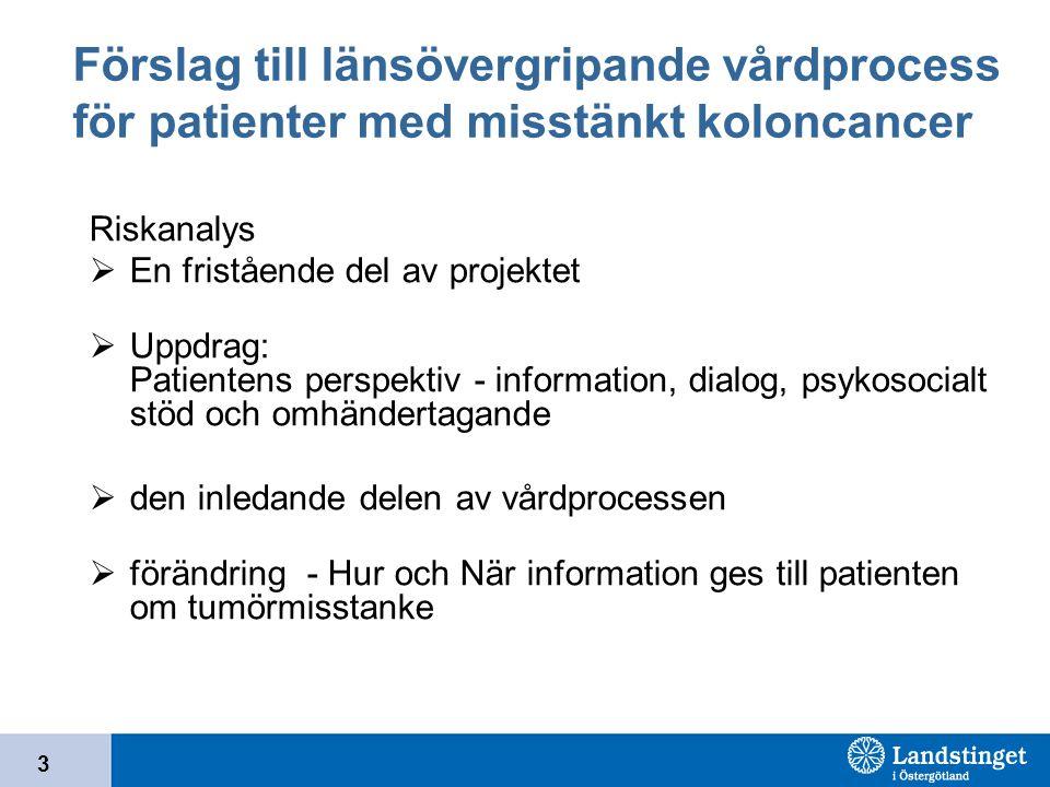 Förslag till länsövergripande vårdprocess för patienter med misstänkt koloncancer