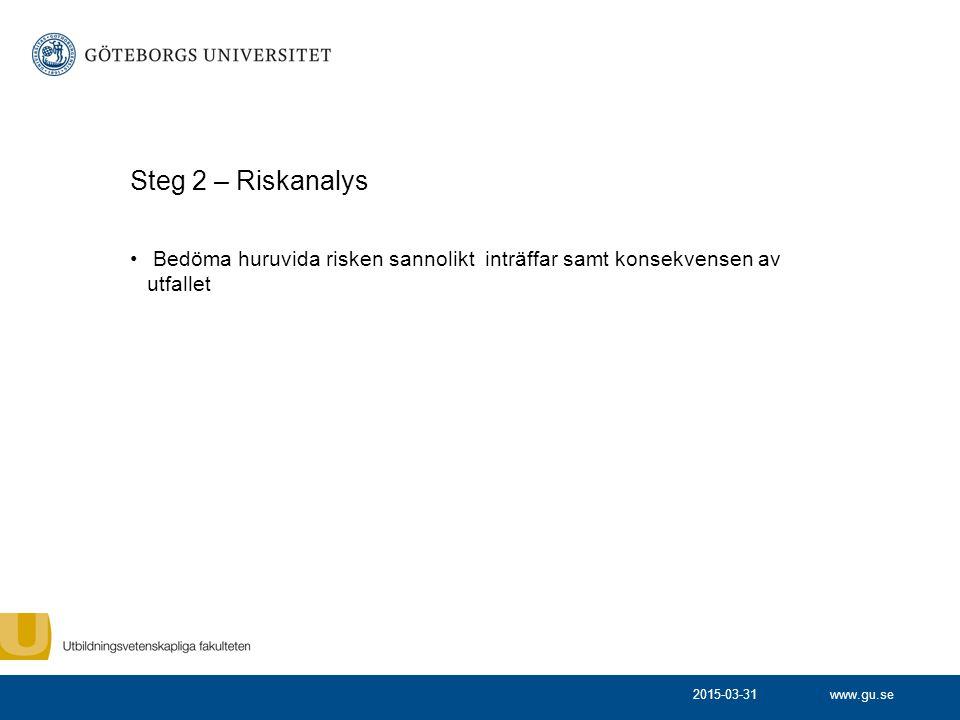 Steg 2 – Riskanalys Bedöma huruvida risken sannolikt inträffar samt konsekvensen av utfallet.