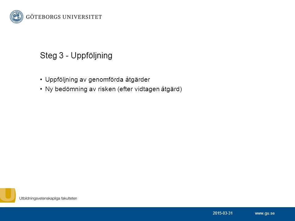 Steg 3 - Uppföljning Uppföljning av genomförda åtgärder